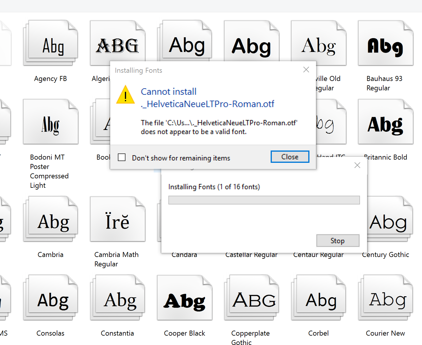 Windows 10 not recognizing  OTF font (Helvetica Neue) and