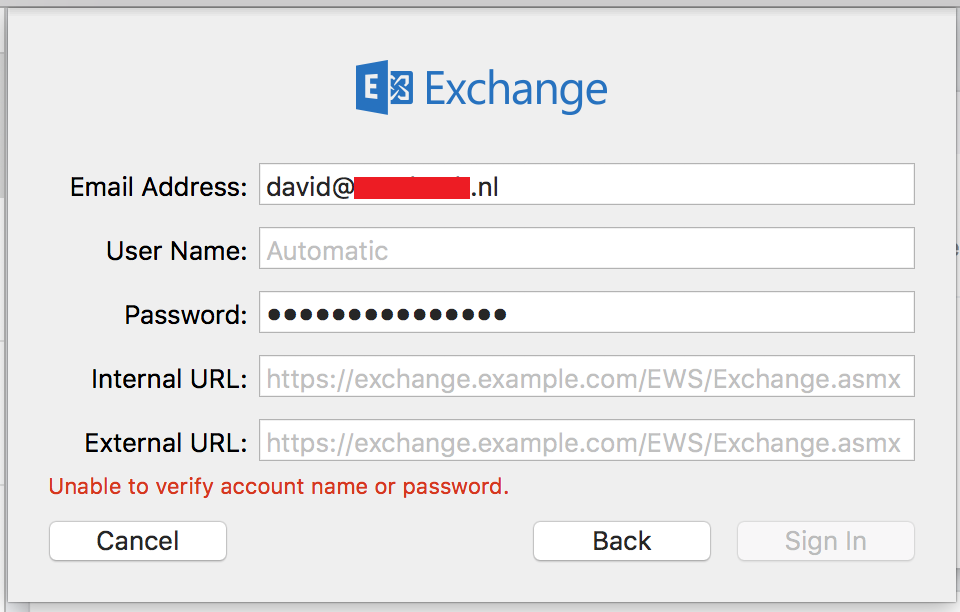 exchange mail in mac os x