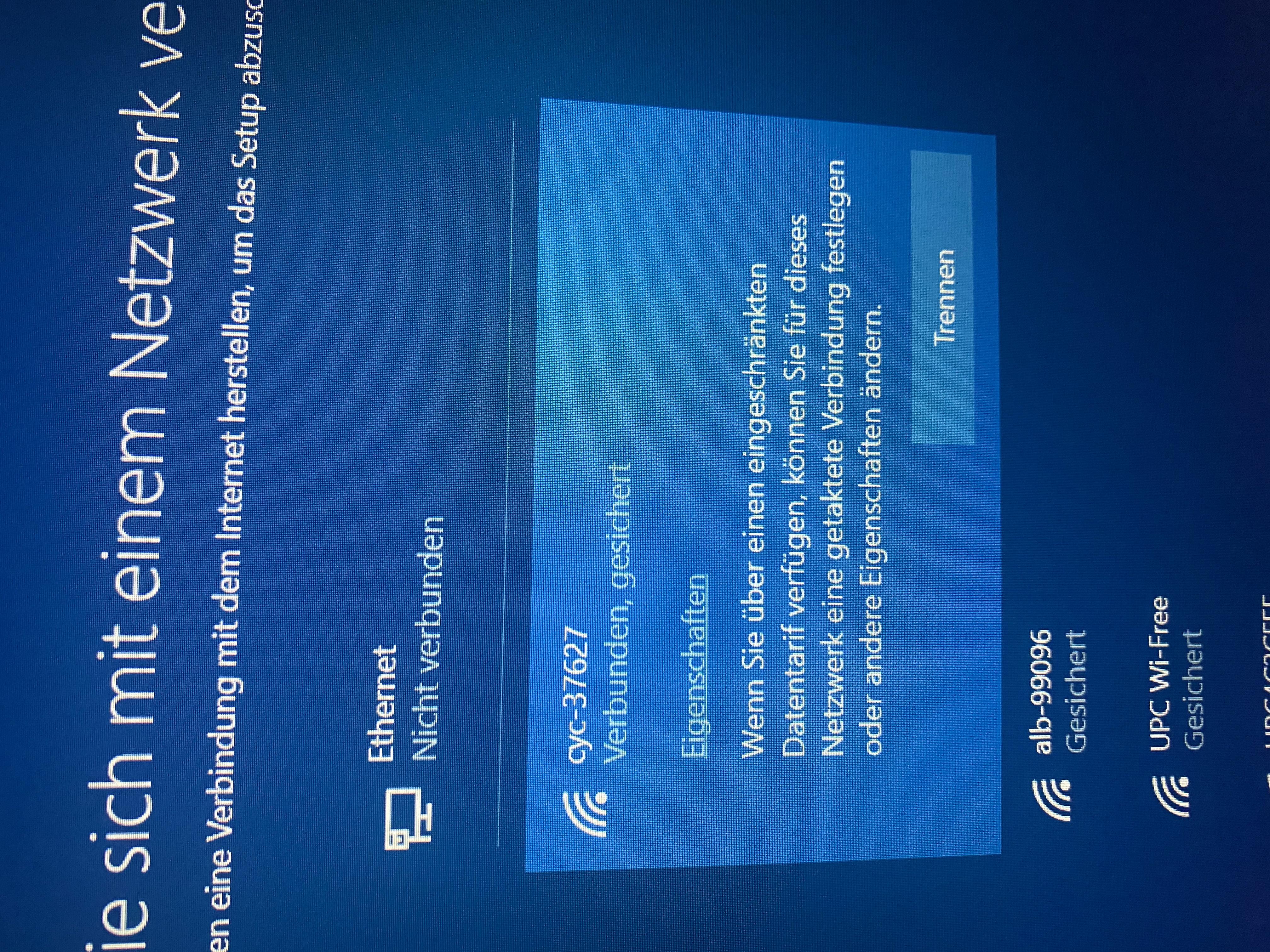 laptop neu aufgesetzt. Nun keine Verbindung zu Windows möglich
