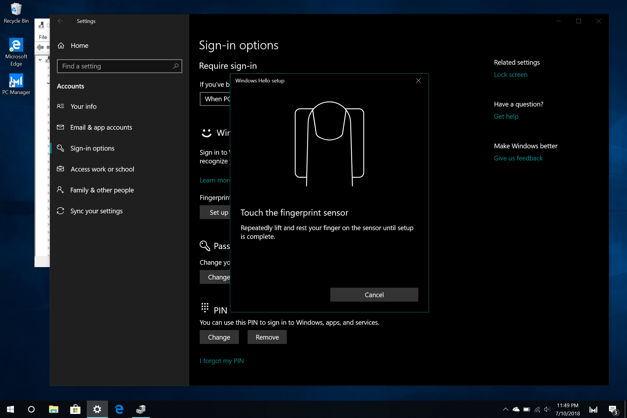 Cannot get Fingerprint scanner to work after clean W10