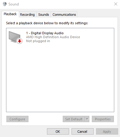 No speakers or headphones are plugged in  Problem on Windows