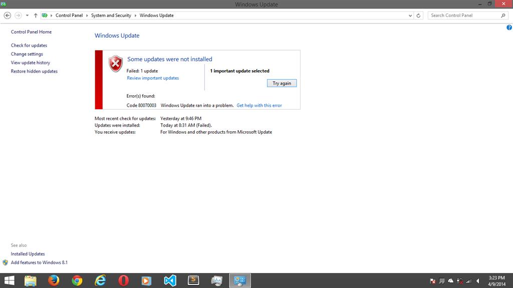 Windows 8 1 Update 1 Failed  Error 80070003