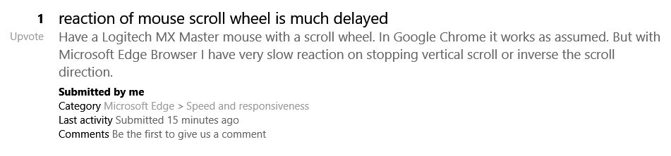 reaction of mouse scroll wheel is much delayed - Microsoft