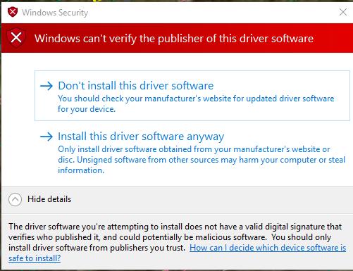 windows security driver warning - Microsoft Community