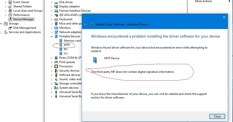 windows 10 mtp driver issue