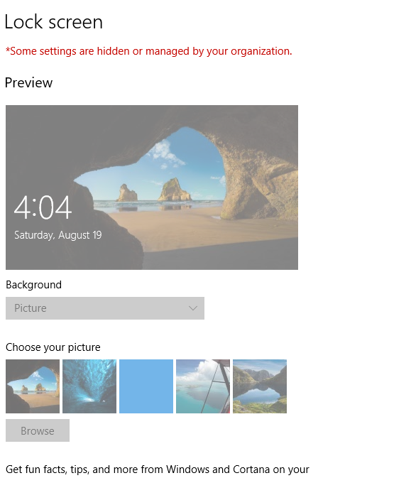 Some Settings Are Hidden Or Manged By Your Organization