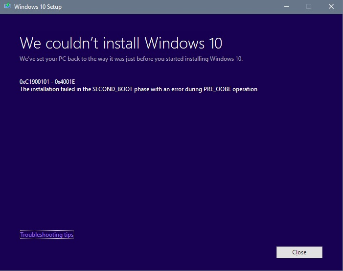 Feature Update to Windows 10, version 1803 in stuck in a