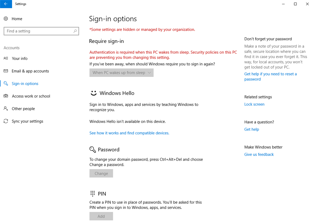 Require Sign-in option in Windows 10 is greyed out - Microsoft Community