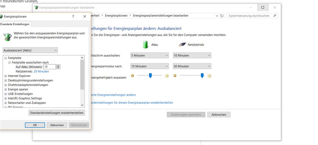 Windows 10 Energiesparmodus