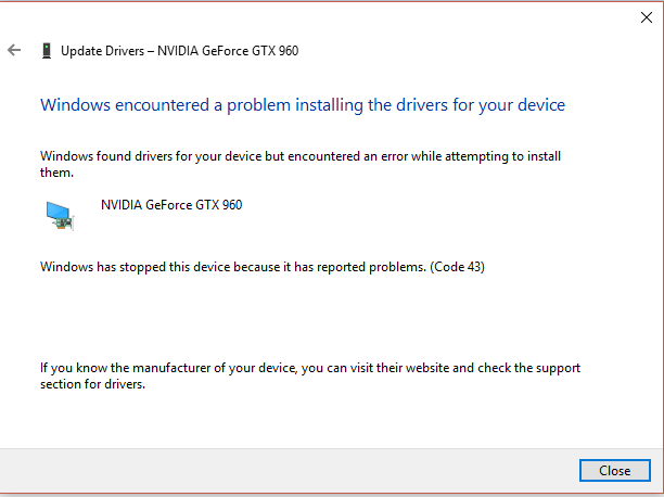 windows 10 update fail for NVIDIA GeForce drivers