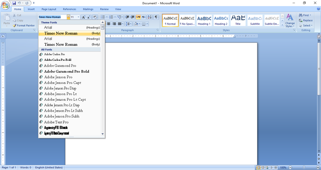 Theme Fonts MS Word 2007