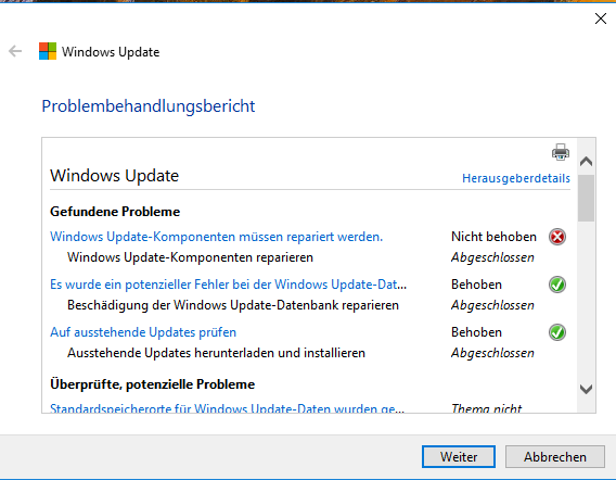 Funktionsupdate für Windows 10, Version 1803 - 2 Fehlercodes:      0xc1900209     0xc1900106