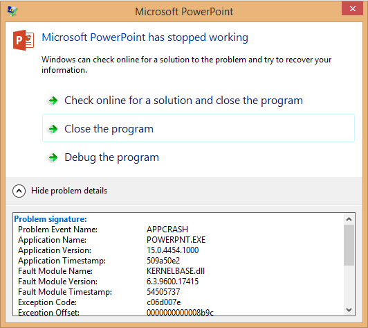PowerPoint Crashes With KERNELBASE.dll (Windows 8.1