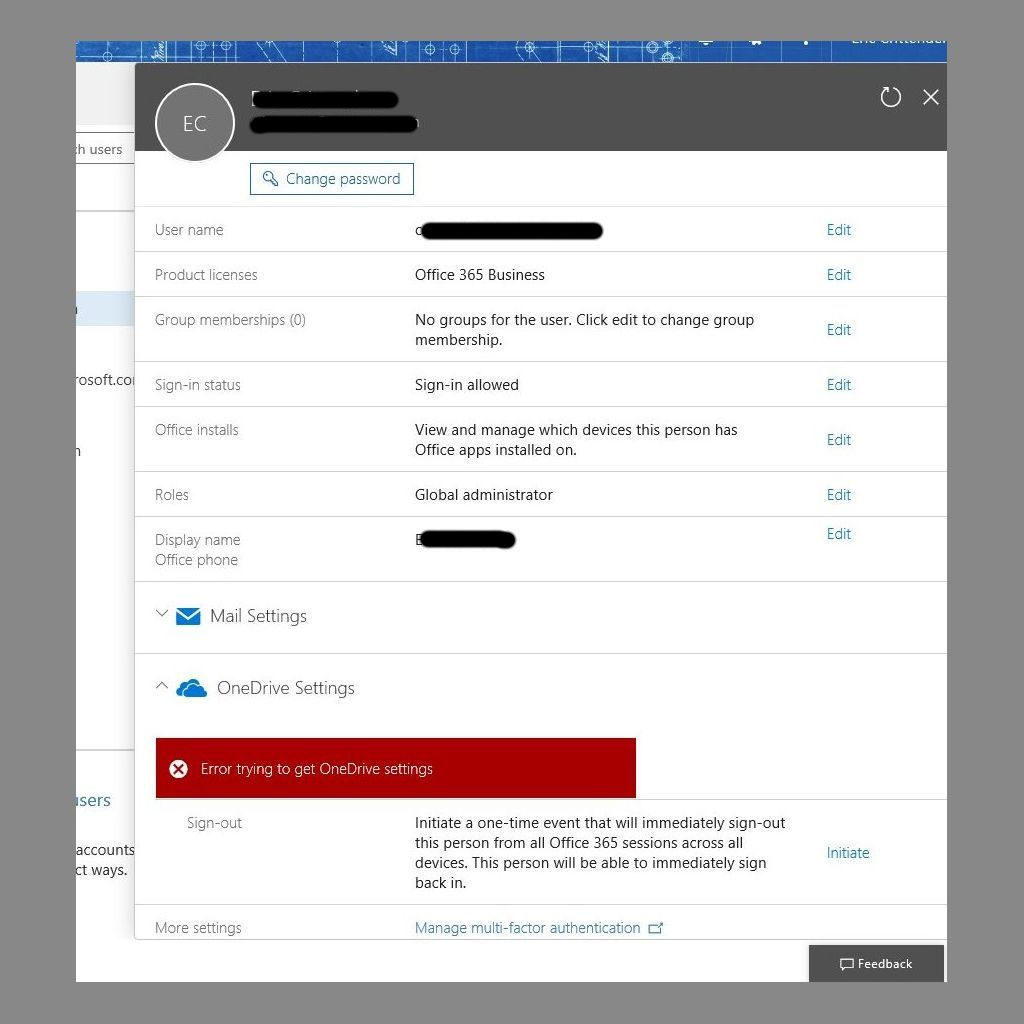 Cannot manage OneDrive settings in Office365 portal