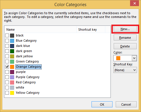 how to use categories in outlook 2016