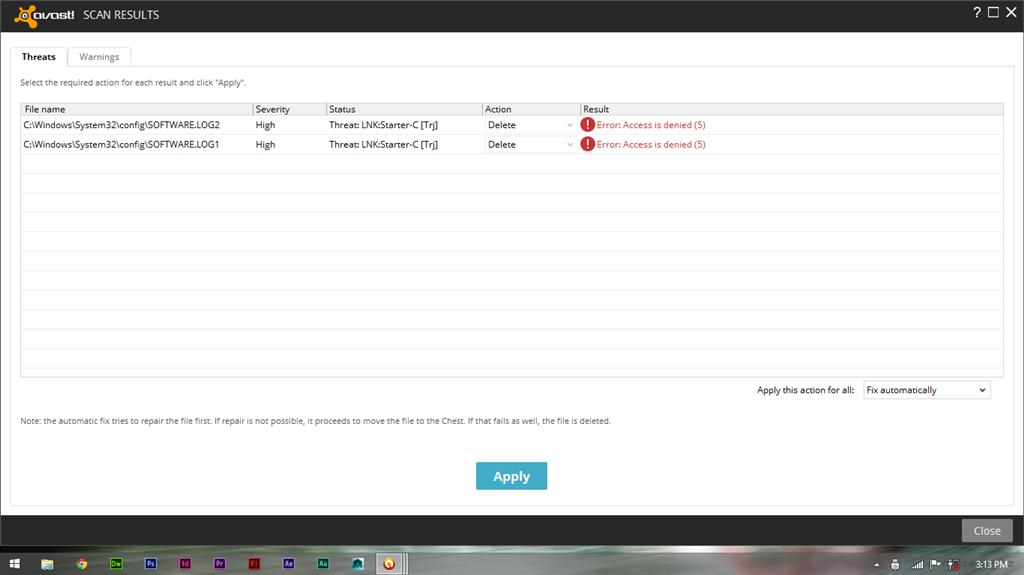 delete avast access denied