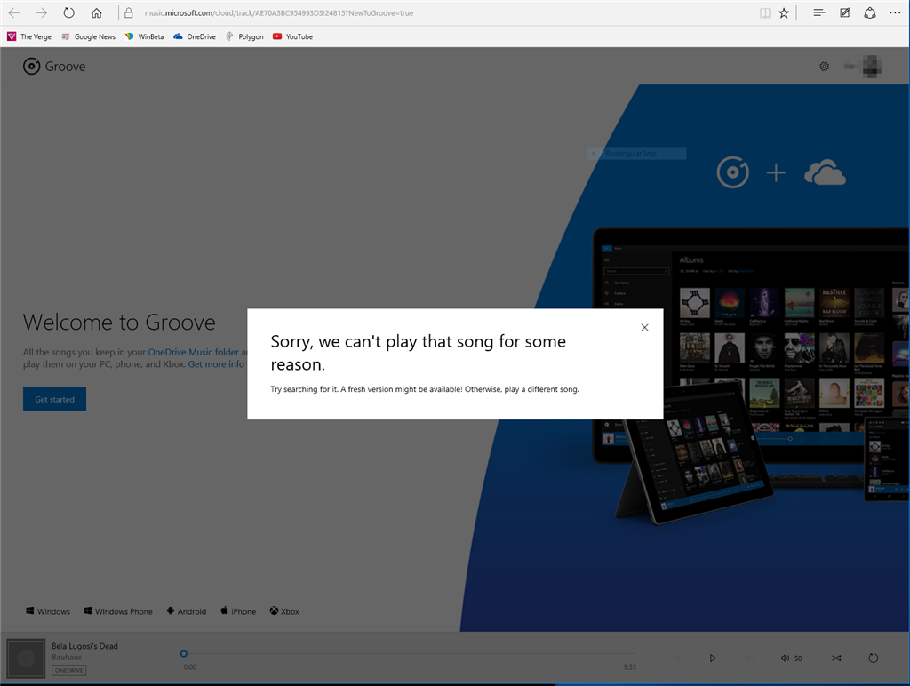 Music on OneDrive Won't Play in Groove Music (Web or App