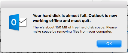 Your hard disk is almost full  Outlook is now working