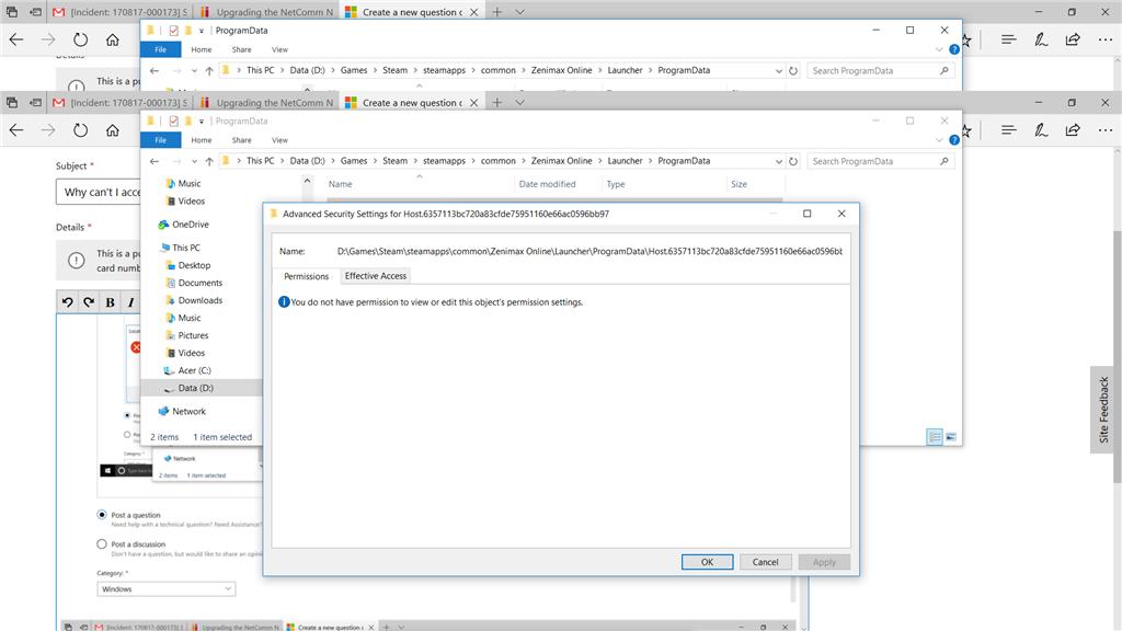 Why can't I access my own folder 1under windows 10? - Microsoft