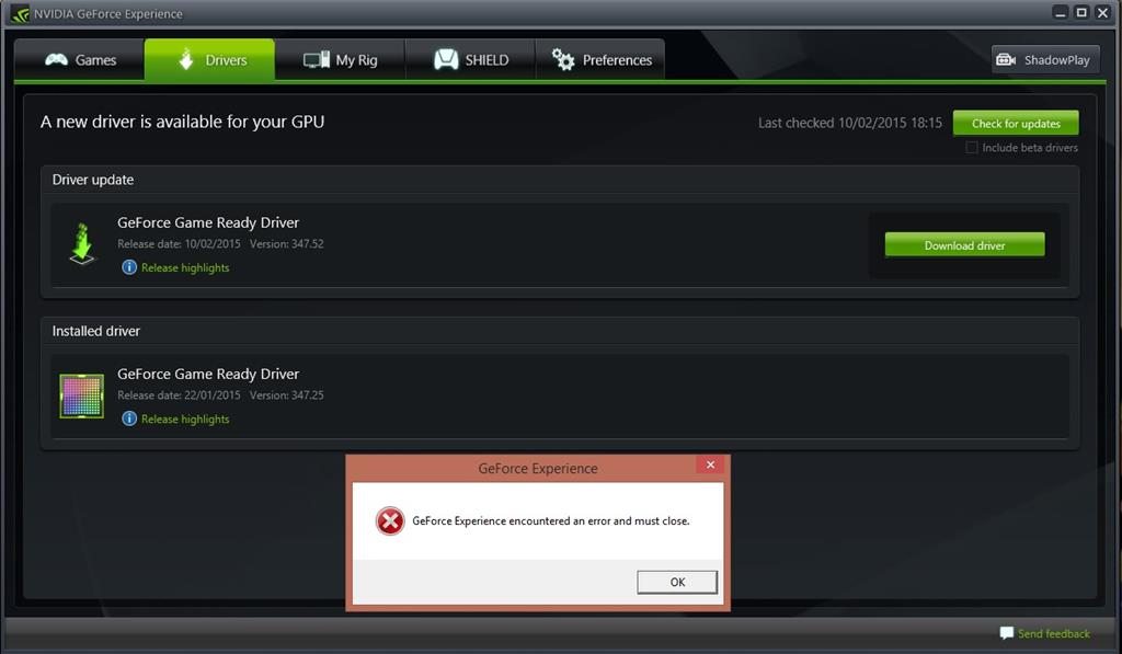 Issue/Error with GeForce Experience, Help - Microsoft Community