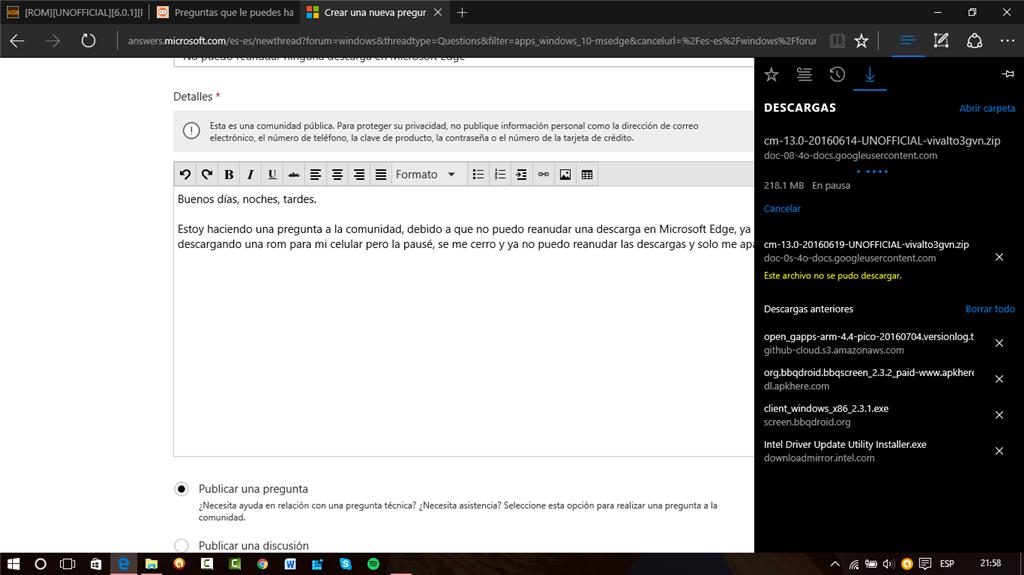 Microsoft Edge - No puedo reanudar ninguna descarga. - Microsoft ...