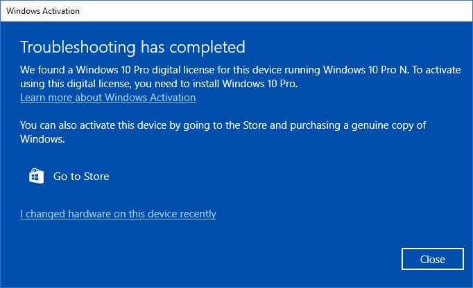 Activation licence status check, Windows 10 Pro N vs