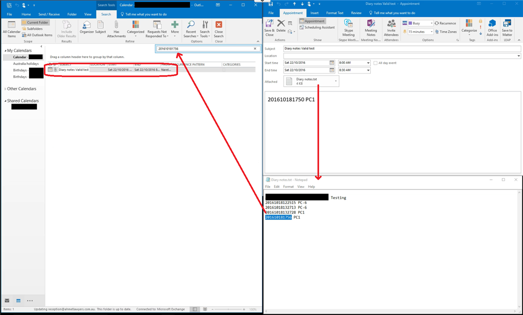 no outlook 2016 search results searching attachments in shared