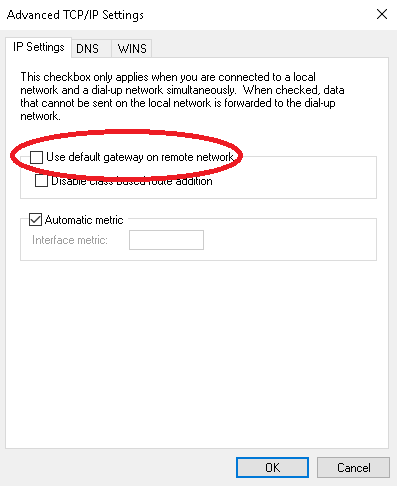 Windows 10 IKEv2 VPN connects but does not have internal