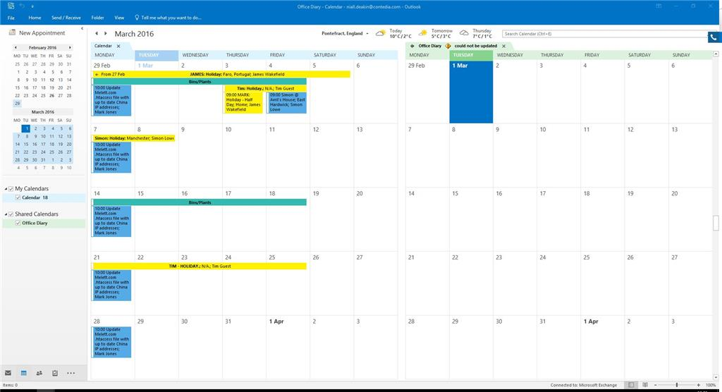 shared calendar office diary says could not be updated