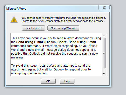 Word 2010 Freezes After Doing a Save and Send Email