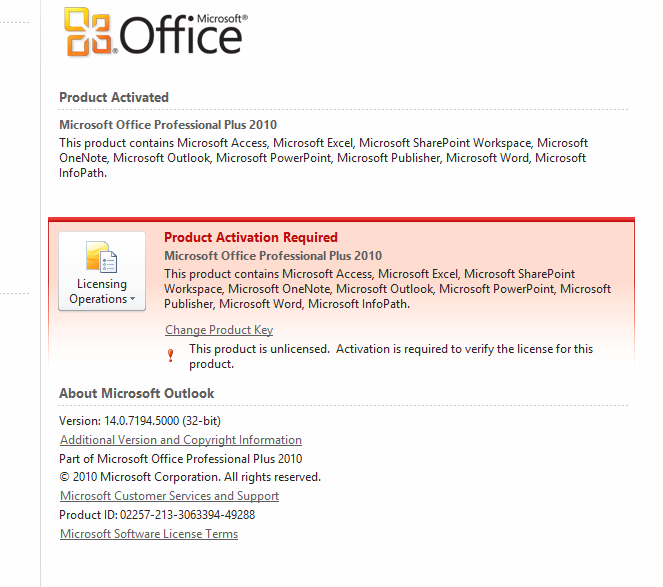 activation id microsoft office professional plus 2010