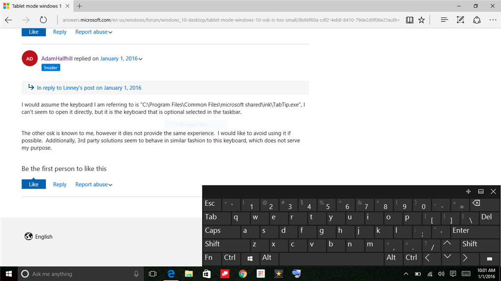 Tablet mode windows 10 osk is too small - Microsoft Community