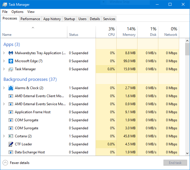 Task Manager displaying Suspended under Process Status