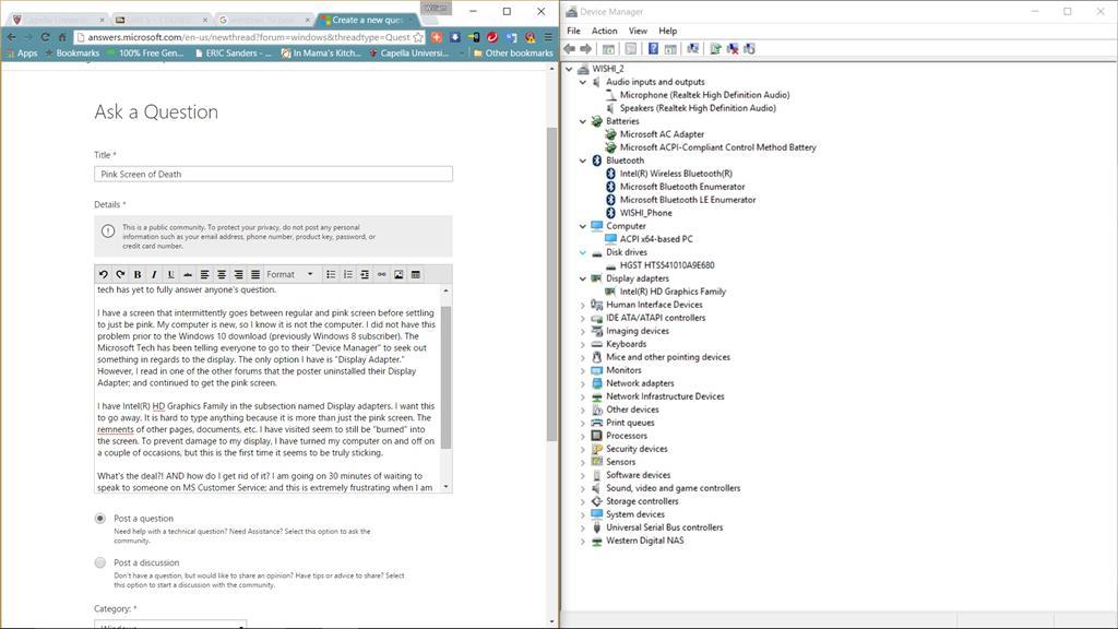 Pink Screen of Death - Microsoft Community