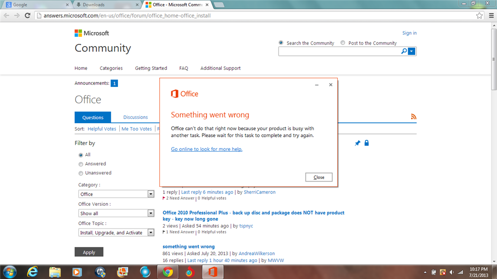 cant install office 2013 something went wrong