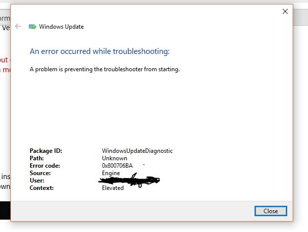 Windows 10 Update & Troubleshooter Failure & Errors - Microsoft