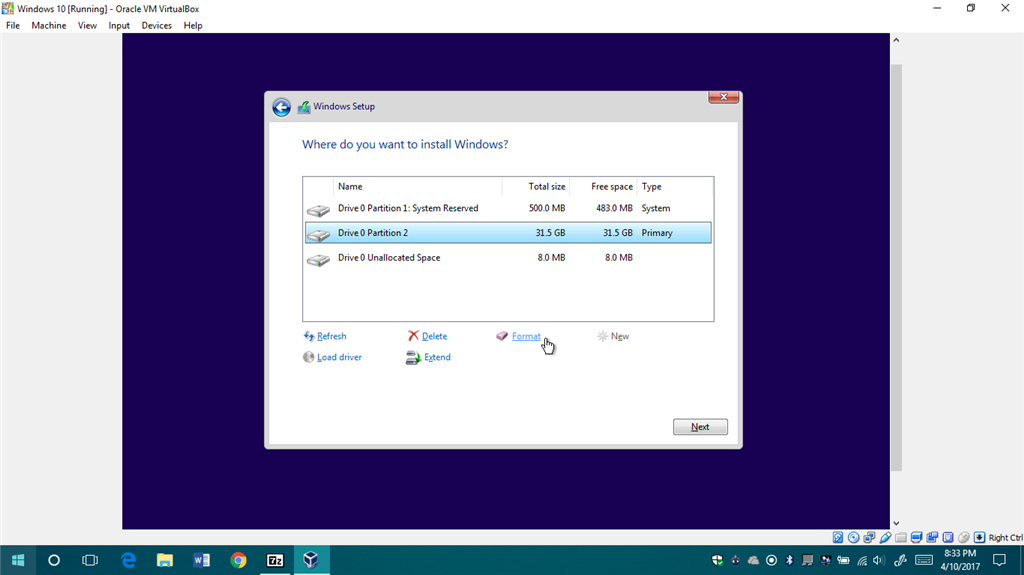 What does Windows 10 setup do when you format a drive? - Microsoft