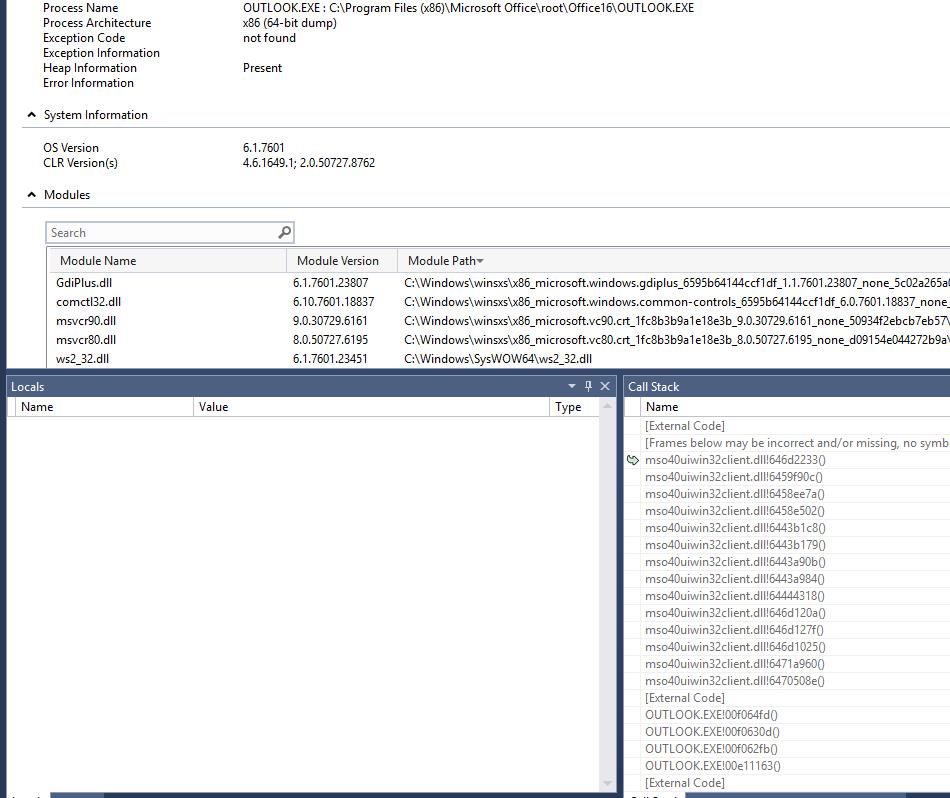 Outlook wwlib dll crash