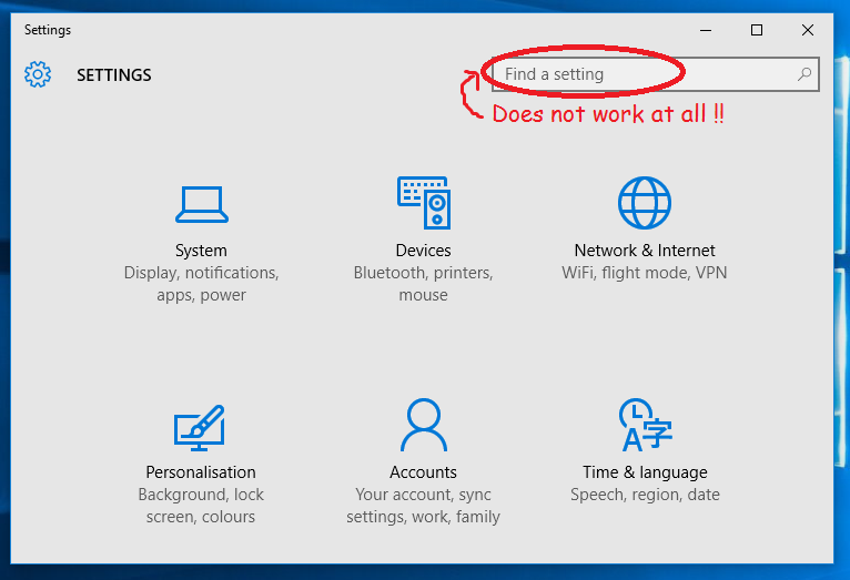 Windows 10 Settings app's search box does not work at all