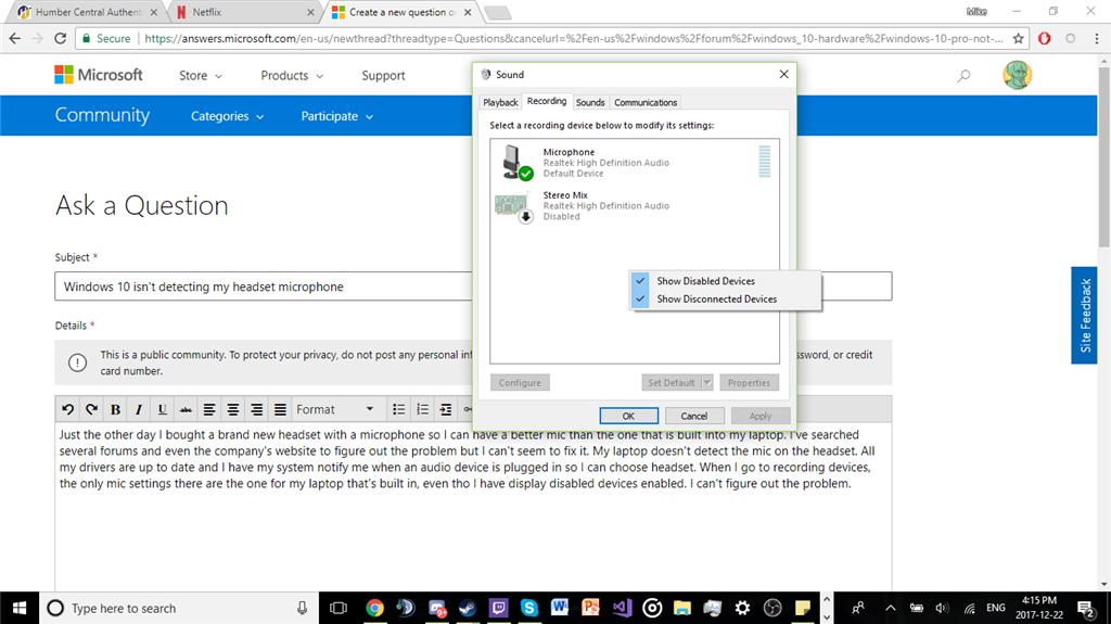 Windows 10 isn't detecting my headset microphone - Microsoft Community