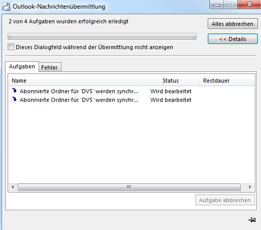 Outlook 2013 never finishes synchronizing subscribed IMAP