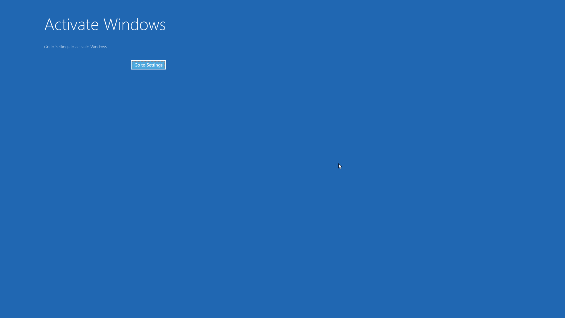 Windows activation screen in settings is blank, blue
