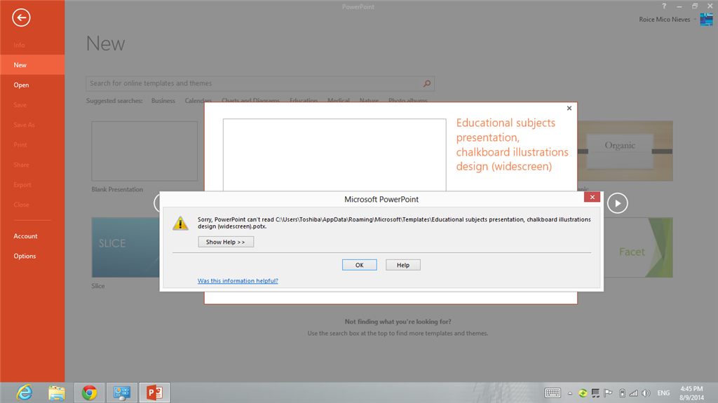 Unable To Open Template In Powerpoint 2013 Error Sorry P