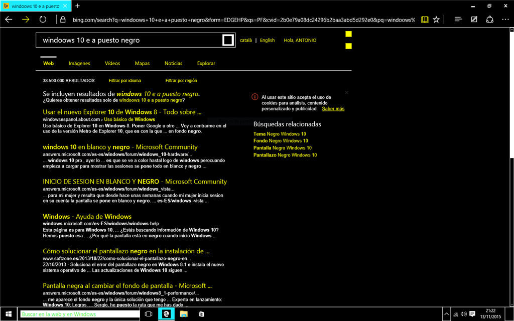 Fondo de pantalla negro en windows 10