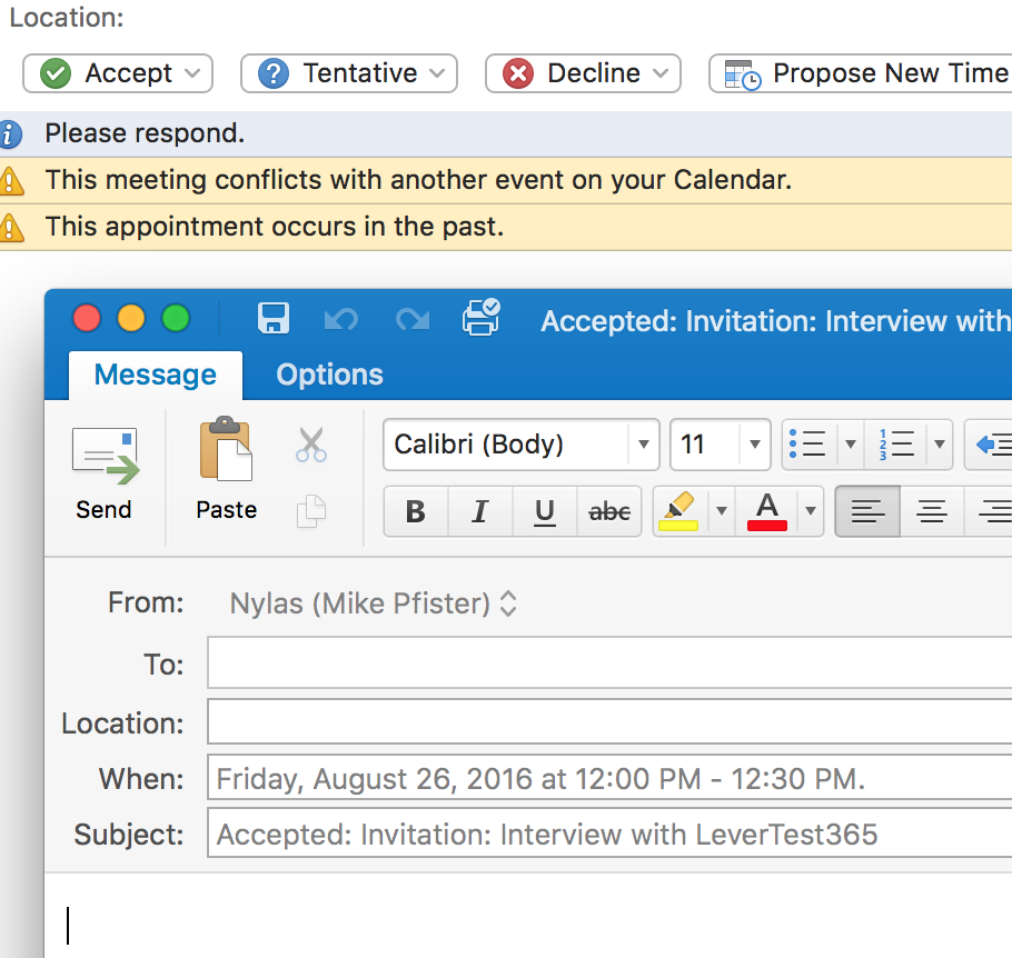 As You Can See The To Field Is Blank And Not Editable So I M Unable Reply Calendar Invite