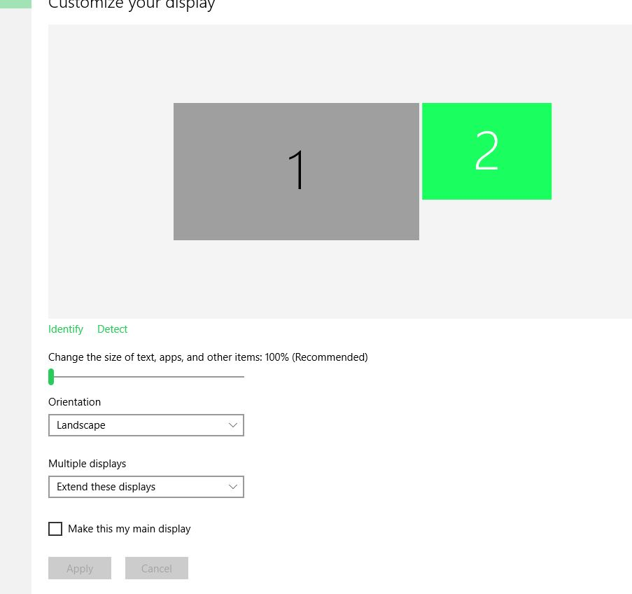 Windows 10 detects my second monitor but it still says no
