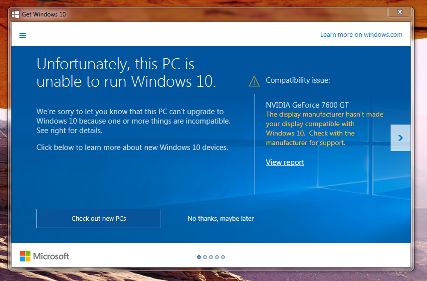 nvidia compatibility issues with windows 10