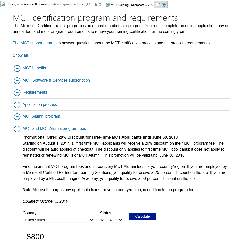 Difference between mct renewal and microsoft certified trainer there are discount for certain mcts if you are a microsoft partner you will get a 25 discount and for microsoft imagine academy it will be 50 discount 1betcityfo Images