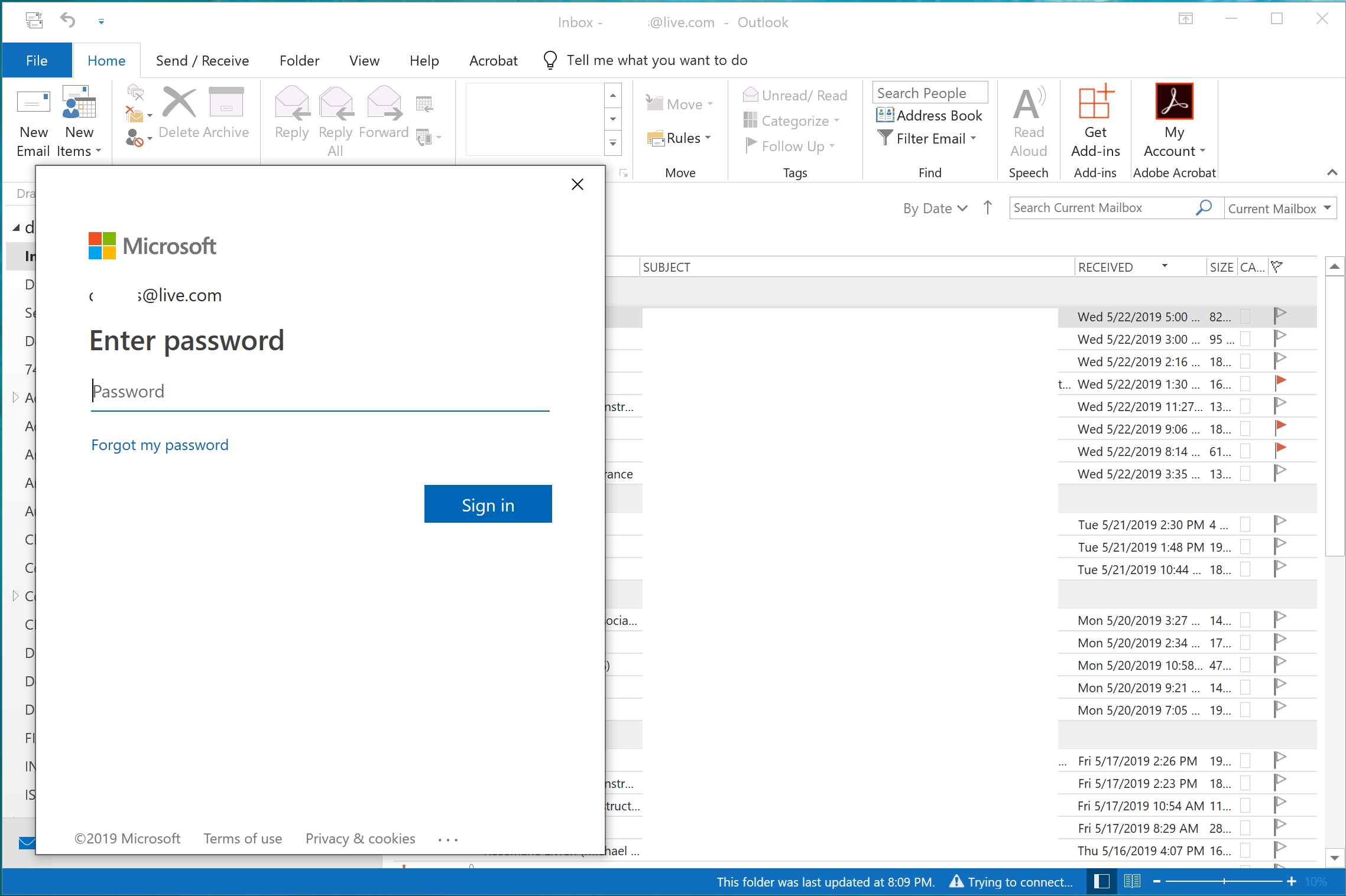 Outlook 2019 - forces to sign into Microsoft office - Microsoft