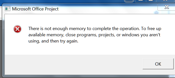 There is not enough memory to complete the operation  - Microsoft
